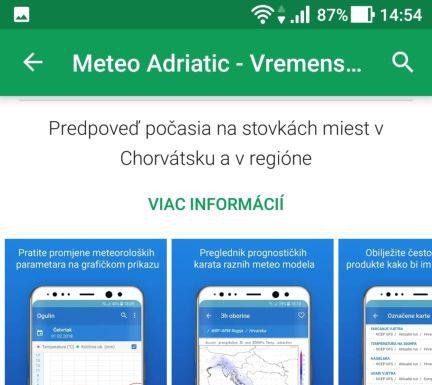 tabuľky, grafy v aplikácii Meteo Adriatic - Vremenska Prognoza