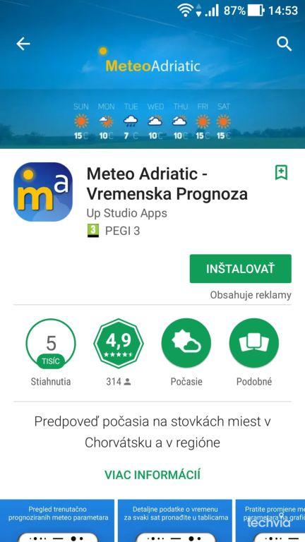 nová aplikácia Meteo Adriatic - Vremenska Prognoza