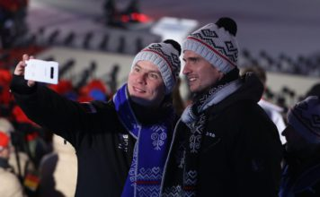 Slovenskí športovci počas otváracieho ceremoniálu ZOH 2018