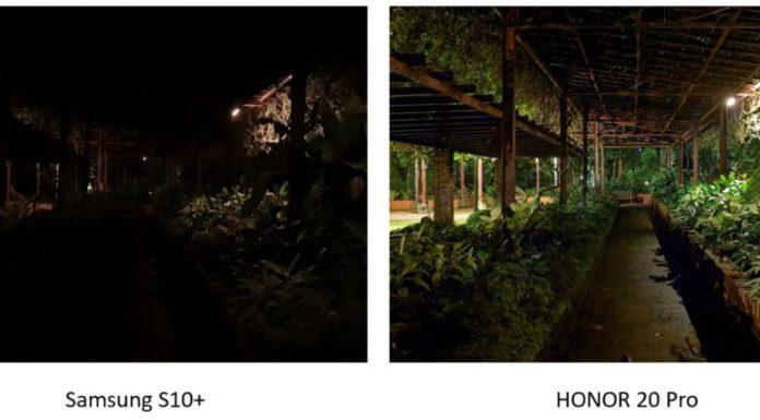 nočná fotografia S10+ & 20 Pro