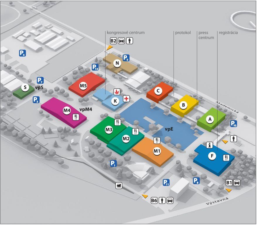 mapa autosalon NITRA