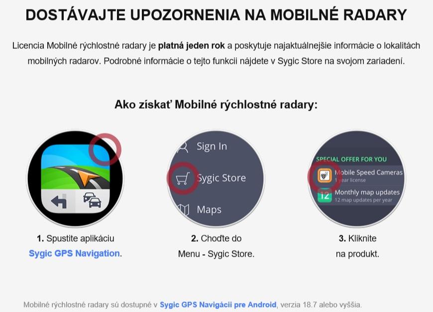 rýchlostné radary Sygic