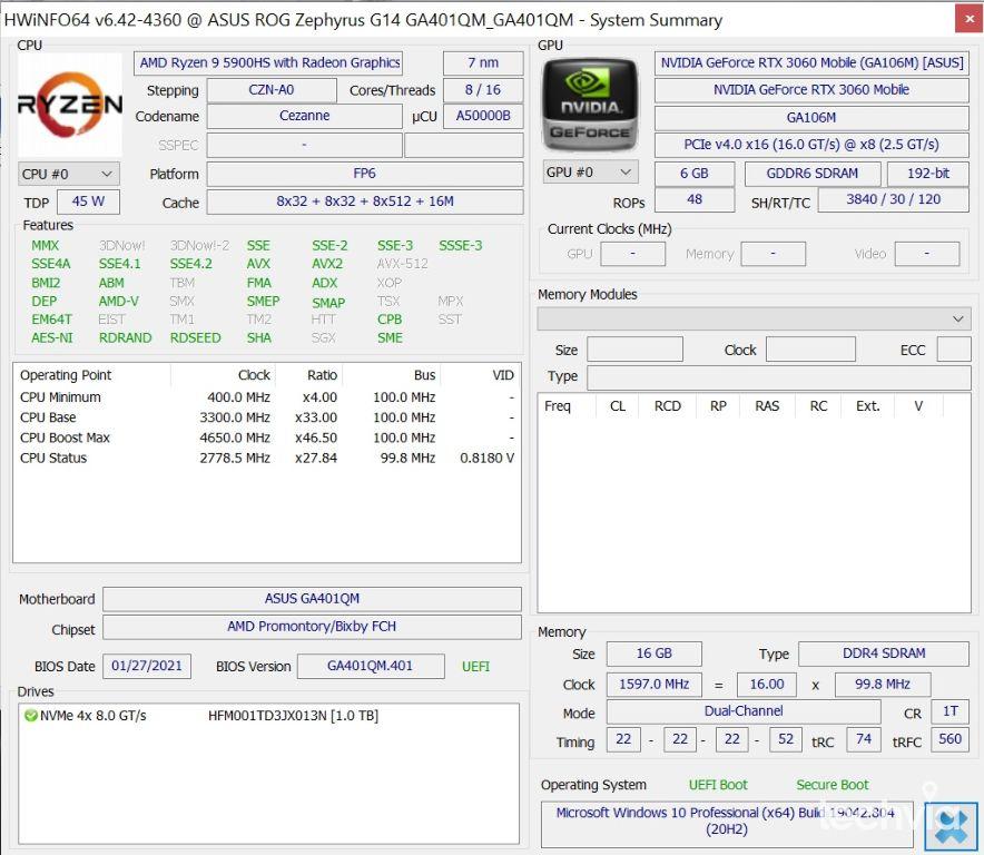 hardver ROG Zephyrus G14 GA401QM